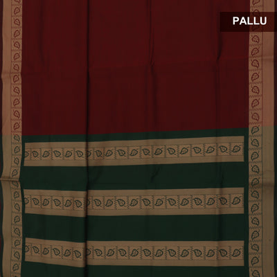 Poly Cotton Saree Maroon and Green with leaf Thread border
