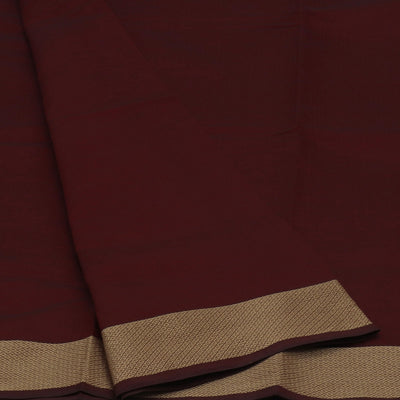 Poly Cotton Saree Maroon and Green with Thread border