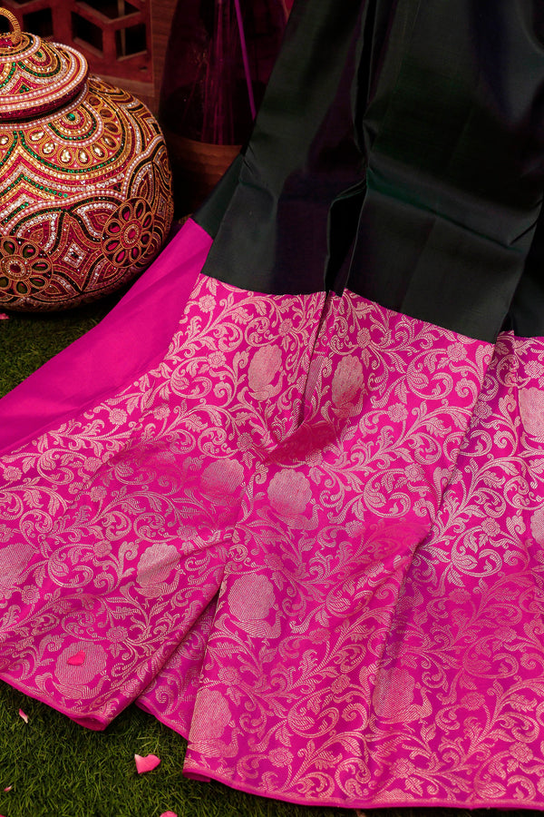 Pure Kanjivaram silk saree dual shade of peacock green and pink with silver zari floral design Half and Half for Rs.Rs. 22690.00 | Silk Sarees by Prashanti Sarees