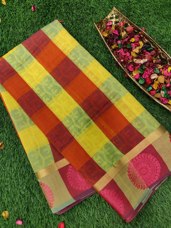 Semi silk cotton saree yellow and pink checks with thread buttas