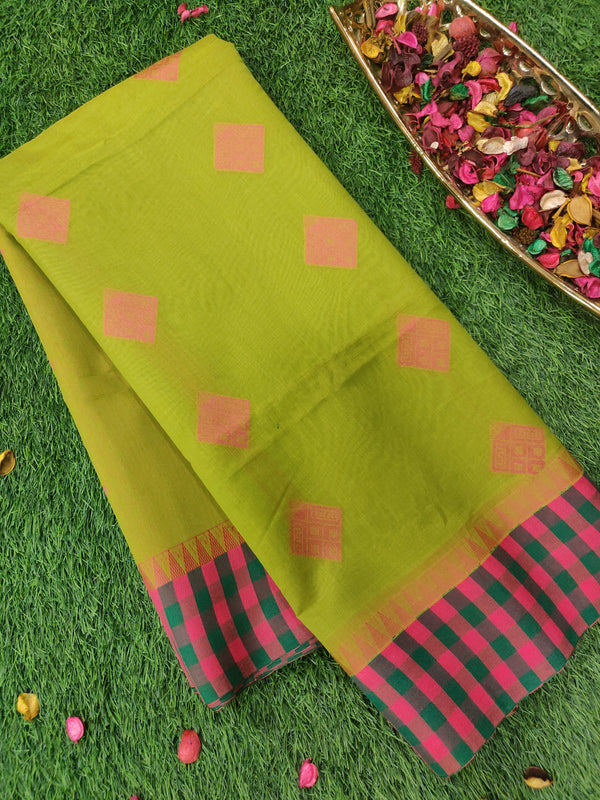 Semi silk cotton saree parrot green with pink thread butta and checked border for Rs.Rs. 1490.00 | Cotton Sarees by Prashanti Sarees