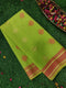 Semi Silk Cotton Saree fluoresent green with simple thread woven border and buttas for Rs.Rs. 1470.00 | Cotton Sarees by Prashanti Sarees