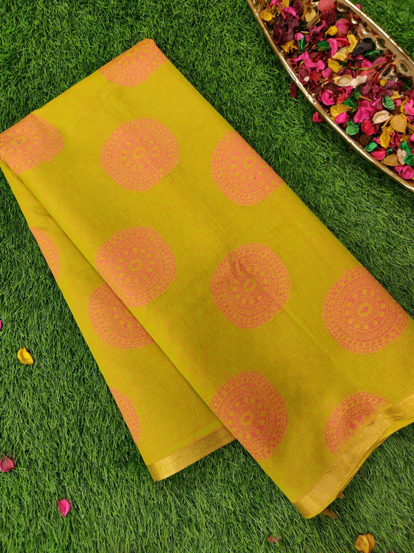 Semi Silk Cotton saree green with thread woven buttas in borderless style for Rs.Rs. 1470.00 | Cotton Sarees by Prashanti Sarees
