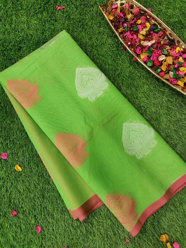 Semi Silk cotton saree parrot green with silver and thread woven buttas for Rs.Rs. 1470.00 | Cotton Sarees by Prashanti Sarees