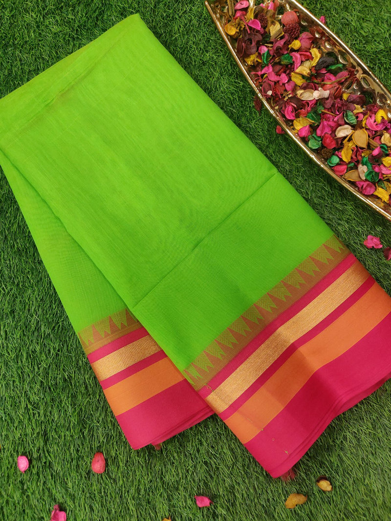 Semi Silk Cotton saree green and pink with temple thread border