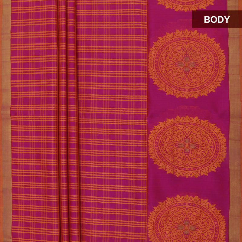 Pure Silk Saree Pink and Honey color with Zari border for Rs.Rs. 5260.00 | Silk Sarees by Prashanti Sarees