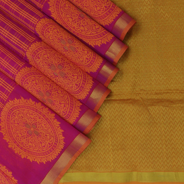 silk cotton Saree Pink and Honey color with Zari border Jacquard