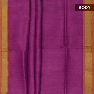 Silk Cotton Saree : Light Purple and Mustard with simple zari border
