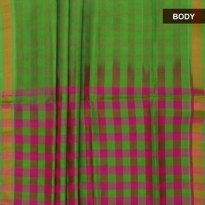 Silk Cotton Saree : Parrot green and Pink with pallu checks and zari border partly