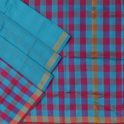 Silk Cotton Saree : Blue and pink checks pallu with simple zari border partly