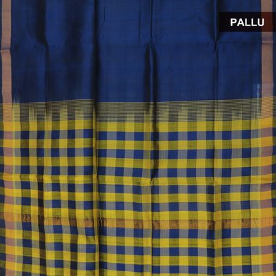 Silk Cotton Saree : Dark blue and Yellow checks pallu with simple border partly