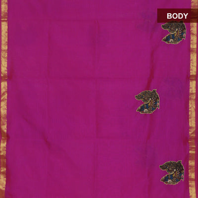 Silk Cotton Saree : Pink with kalamkari applique work and Kalamkari blouse for Rs.Rs. 4075.00 | Silk Cotton Sarees by Prashanti Sarees