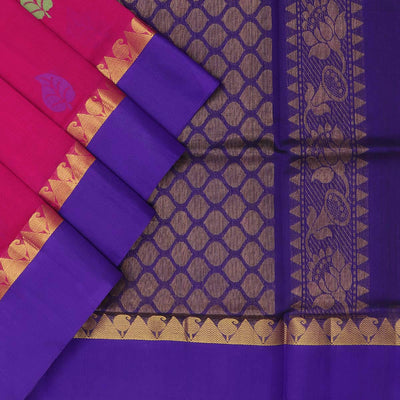 Silk Cotton Saree : Pink and Dark blue with leaf butta and silk border