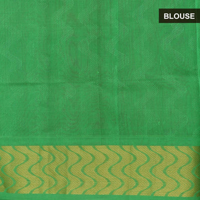 Silk Cotton Saree : Maroon and Green with wave zari border jacquard