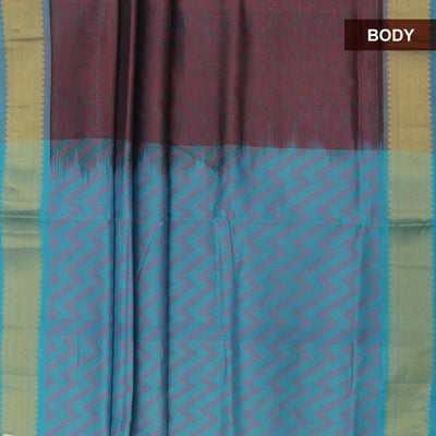 Silk Cotton Saree : Brown and blue with bavanji zari border partly