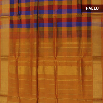 Silk Cotton Saree : Maroon and Mustard paalum pazham with bavanji zari border