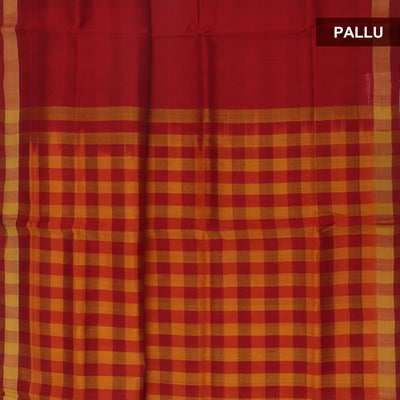 Silk Cotton Saree : Mustard and Maroon pallu checks with simple zari border partly