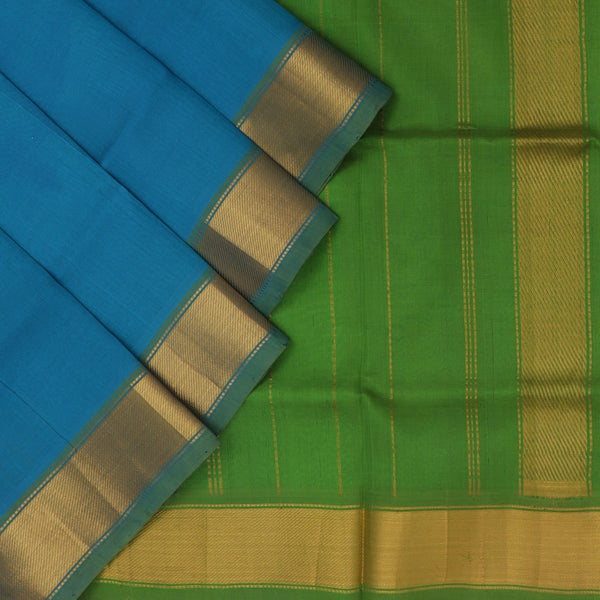 Silk Cotton Saree : Blue and Green with Bavanji zari border