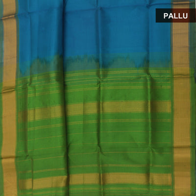 Silk Cotton Saree : Blue and Green with zari border