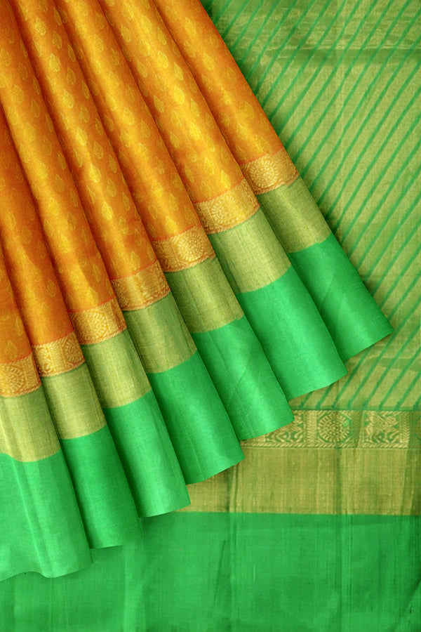 Kuppadam Silk Cotton saree orangish yellow with green and self embose pattern