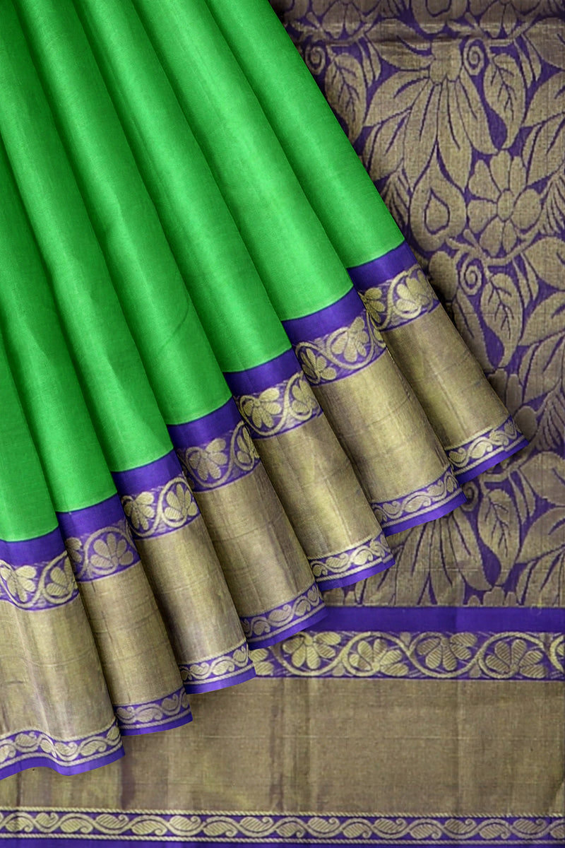 Silk Cotton saree Green with violet korvai long zari border