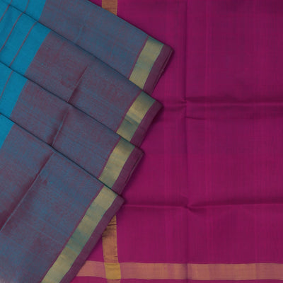 Silk Cotton Saree : Blue and Pink with lines and simple zari border