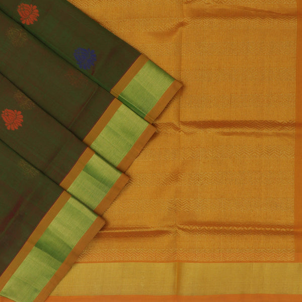 Silk Cotton Saree : Green and Mustard with flower butta and Bavanji zari border