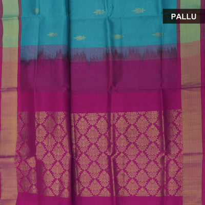 Silk Cotton Saree : Sky blue and Pink with zari butta and simple border