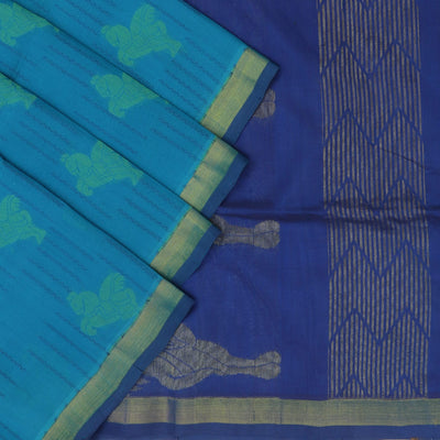 Silk Cotton Saree : Sky blue and blue with simple zari border