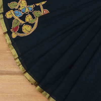 Silk Cotton Saree : Black with kalamkari embroidery work