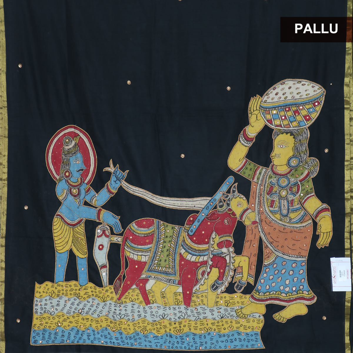 Silk Cotton Saree : Black with kalamkari embroidery work for Rs.Rs. 6990.00 | Silk Cotton Sarees by Prashanti Sarees