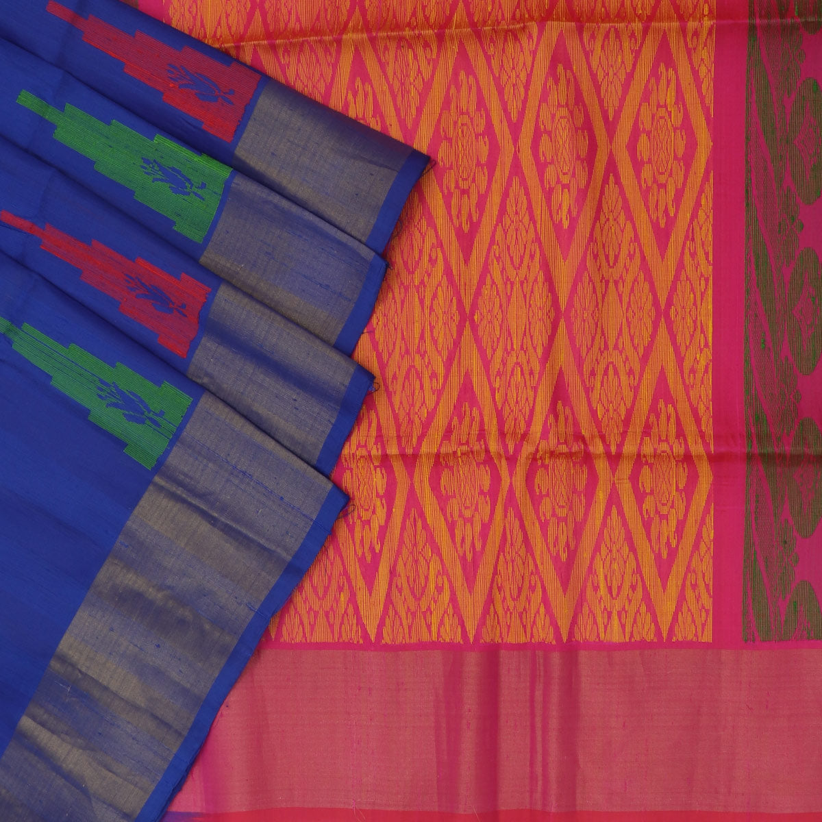 Pure raw silk saree : Dark Blue and Pink with temple and simple border