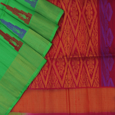 Pure raw silk saree : Green and Red with long temple  border