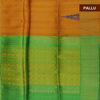 Pure raw silk saree : Mustard and Green with temple design and simple border