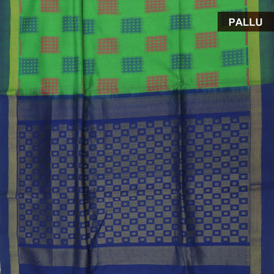 Silk Cotton Saree : Green and dark blue with simple zari border