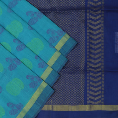 Silk Cotton Saree : Blue and dark blue with traditional design and simple border