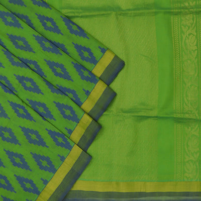 Silk cotton Saree : Green and blue with simple zari border
