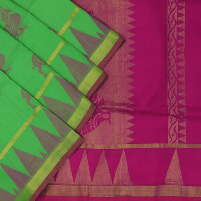 Silk cotton Saree : Green and Pink with animal design and simple border