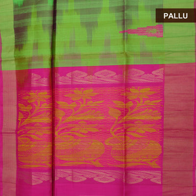 Pure raw silk Saree : Green and Pink with temple design and simple border