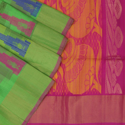 Pure raw silk Saree : Green and Pink with temple design and simple border for Rs.Rs. 6050.00 | by Prashanti Sarees