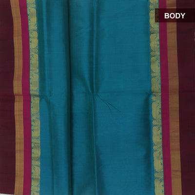 Kuppadam Silk Cotton Saree : Peacock blue and brown with elephant silk border