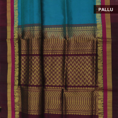 Silk Cotton Saree : Peacock blue and brown with elephant silk border