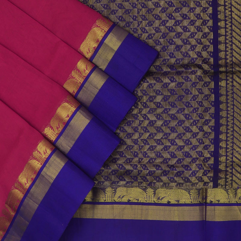 Kuppadam Silk Cotton Saree : Pink and Blue with elephant silk border