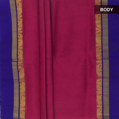 Silk Cotton Saree : Pink and Blue with elephant silk border