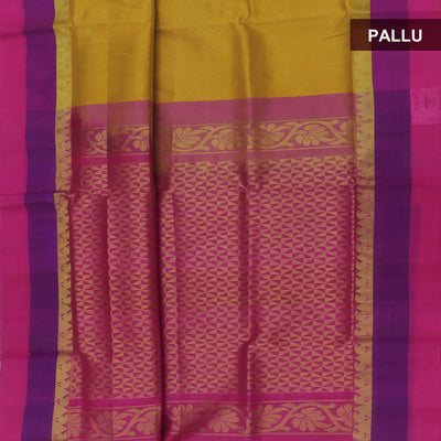 Kuppadam Silk Cotton Saree : Pale yellow and Pink with temple zari silk border