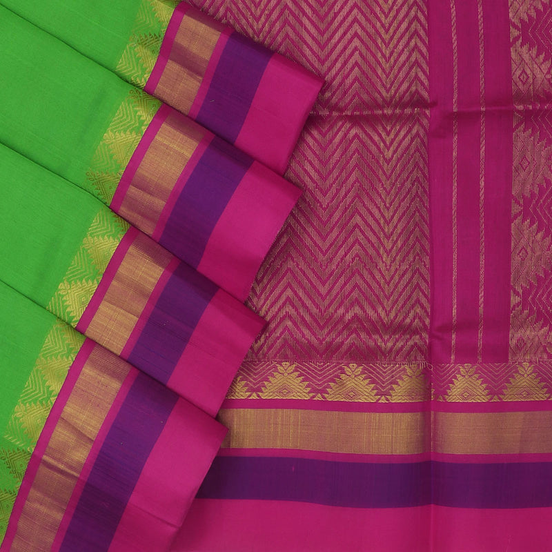 Kuppadam Silk Cotton Saree : Pista green and Pink with temple zari silk border
