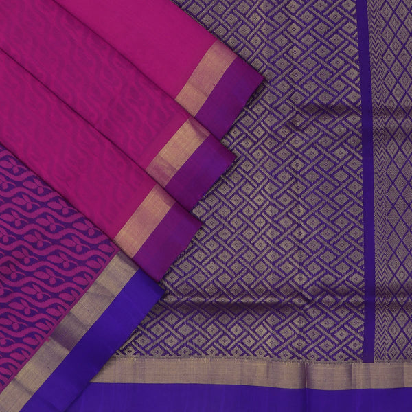 Silk Cotton Saree : Pink and blue with simple border partly