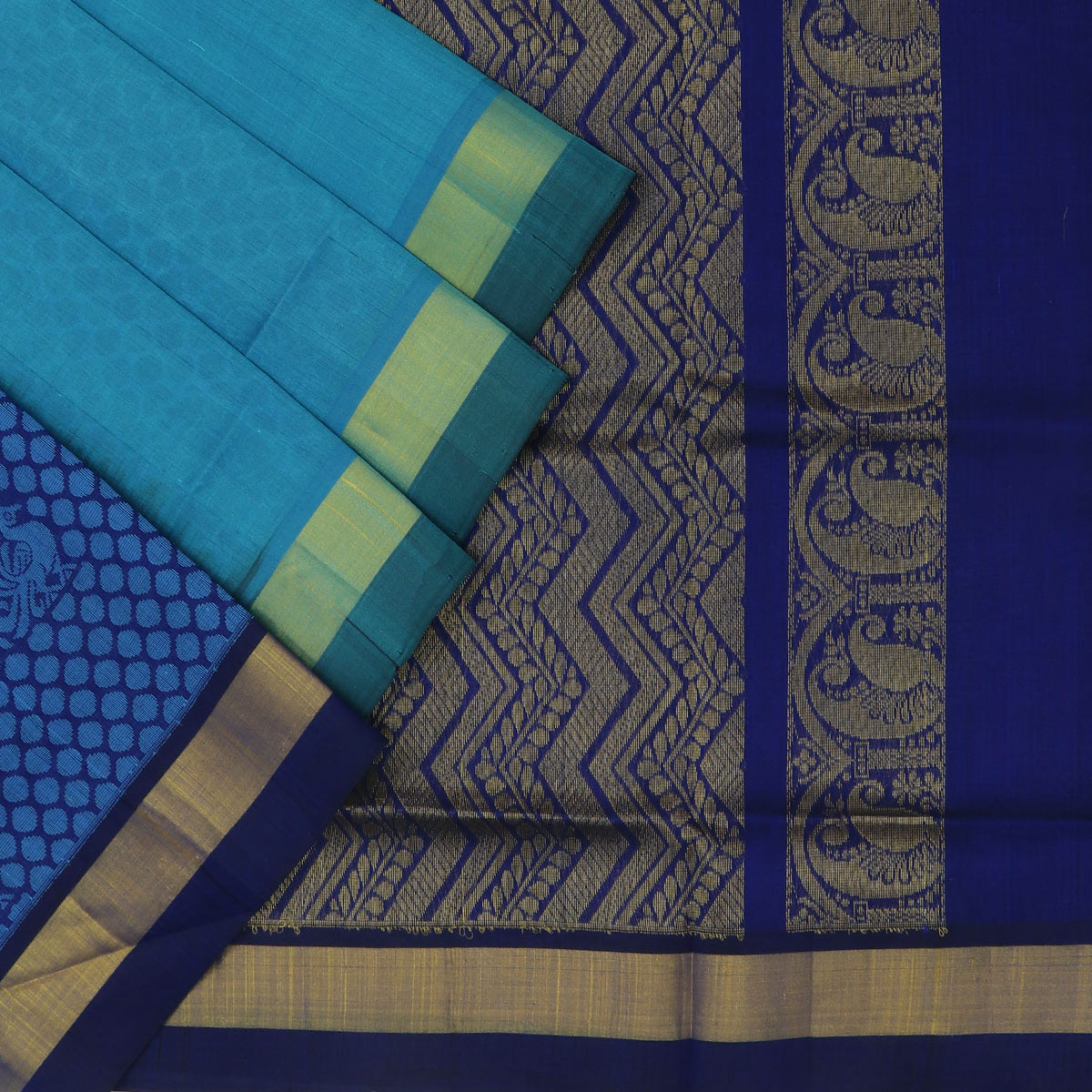 Silk Cotton Saree : Sky blue and blue with simple border partly
