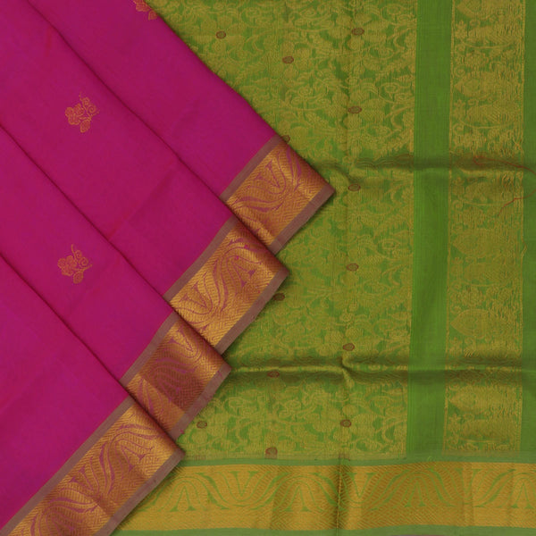 Silk Cotton Saree : Pink and Pale green with Butta and lotus zari border