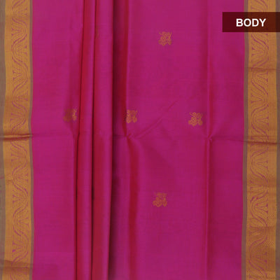 Silk Cotton Saree : Pink and Pale green with lotus zari border